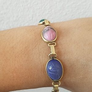12K GF Scarab Gemstone Bracelet